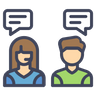 Graphic of man and woman with speech bubbles
