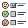 Checklist with happy and sad face icons